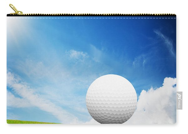 Ball On Tee On Green Golf Field Carry-all Pouch