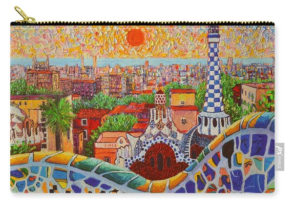 Barcelona Sunrise Light - View From Park Guell Of Gaudi - Square Format Carry-all Pouch