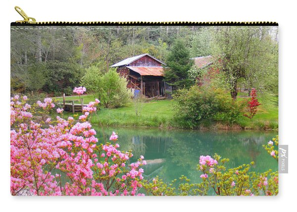 Barn And Flowers Near Pond Carry-all Pouch