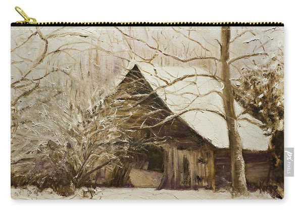 Barn In Snow Carry-all Pouch