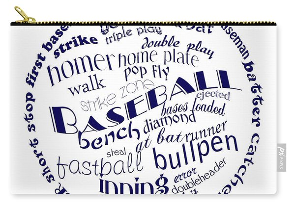 Baseball Terms Typography Blue On White Carry-all Pouch