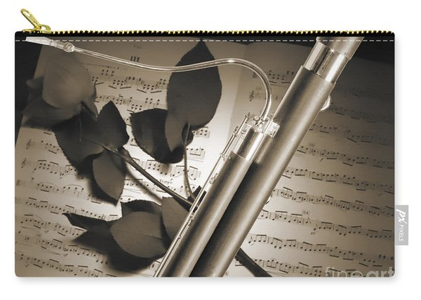 Bassoon Music Instrument Photograph In Sepia 3406.01 Carry-all Pouch