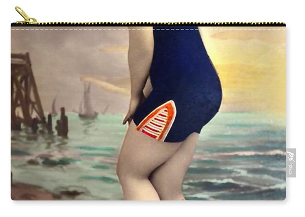 Bathing Beauty In Orange And Navy Bathing Suit Carry-all Pouch
