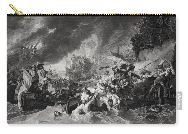 Battle Of The Hague, 29th May 1692, Engraved By William Woollett 1735-85 1781 Aquatint Bw Photo Carry-all Pouch