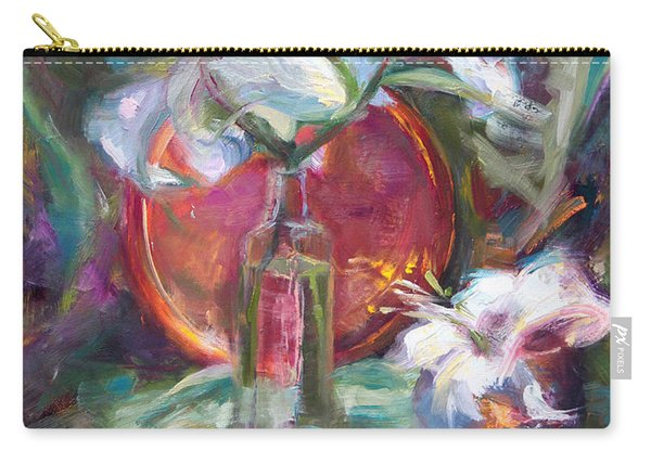 Carry-all Pouch featuring the painting Be Still - Casablanca Lilies With Copper by Talya Johnson