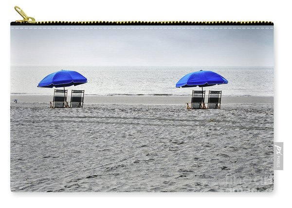 Beach Umbrellas On A Cloudy Day Carry-all Pouch
