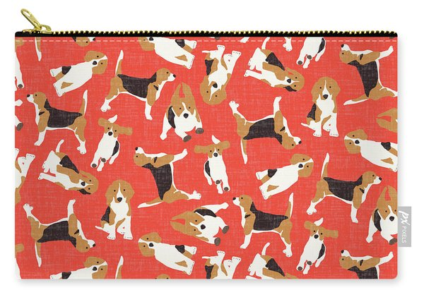 Beagle Scatter Coral Red Carry-all Pouch