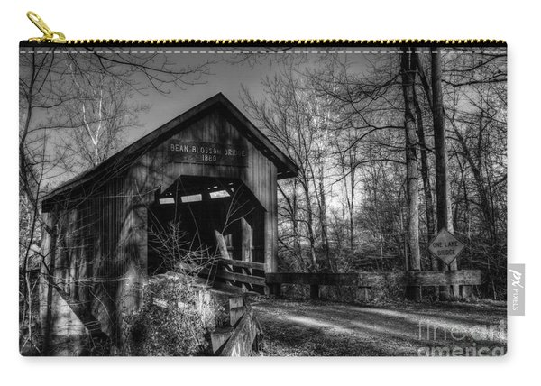 Bean Blossom Bridge Bw Carry-all Pouch