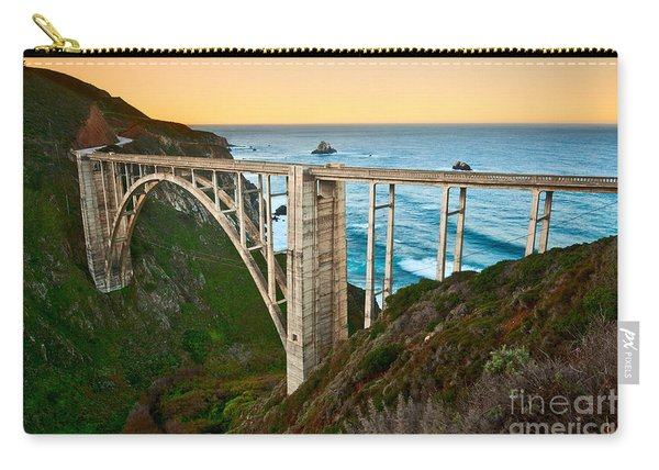 Beautiful Coastal View Of Big Sur In California In Sunrise With Bixby Bridge. Carry-all Pouch