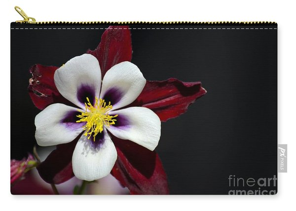 Beautiful White Petal Yellow Stamen Purple Shades Aquilegia Columbine Flower Carry-all Pouch