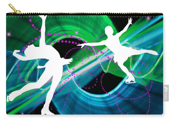 Bedazzling Ice Figure Skaters Carry-all Pouch