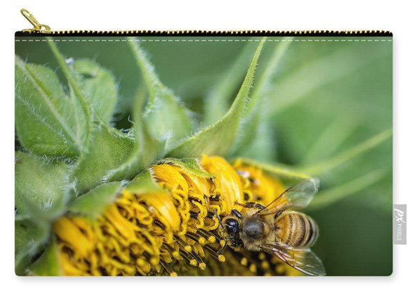 Bee Collecting Pollen On A Sunflower Carry-all Pouch