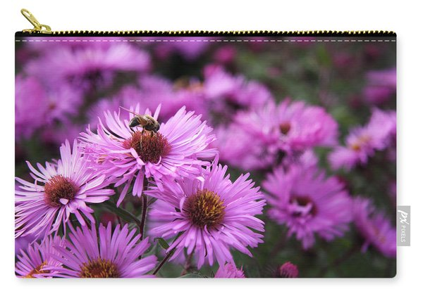 Carry-all Pouch featuring the photograph Bee On A Daisy by Susan Leonard