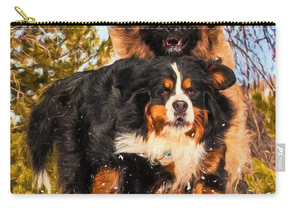Bernese Mountain Dog And Leonberger Winter Fun Carry-all Pouch