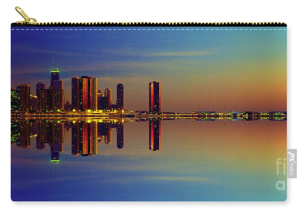 Between Night And Day Chicago Skyline Mirrored Carry-all Pouch