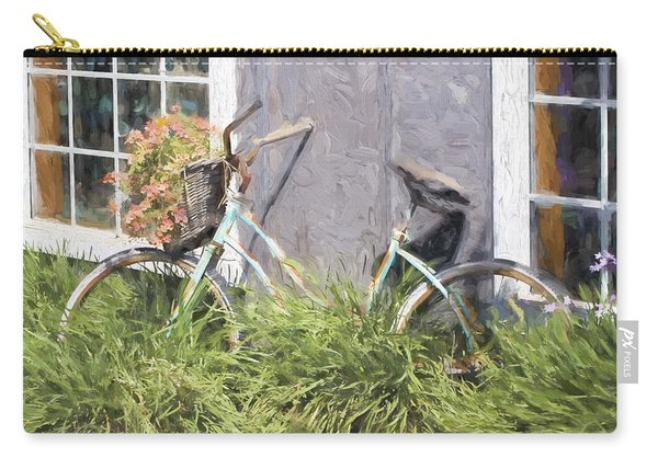 Bicycle Basket Of Flowers Painterly Effect Carry-all Pouch
