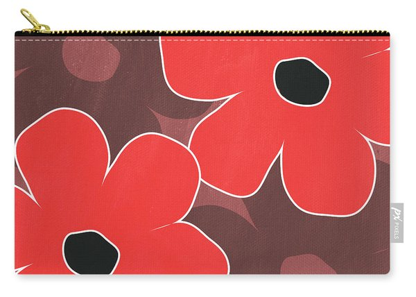 Big Red And Marsala Flowers Carry-all Pouch