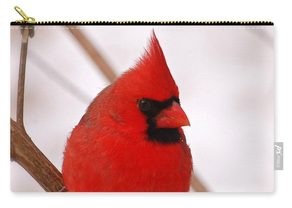 Big Red  Cardinal Bird In Snow Carry-all Pouch