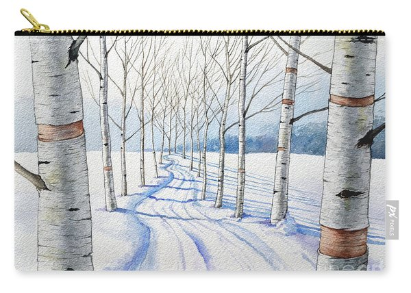 Birch Trees Along The Curvy Road Carry-all Pouch