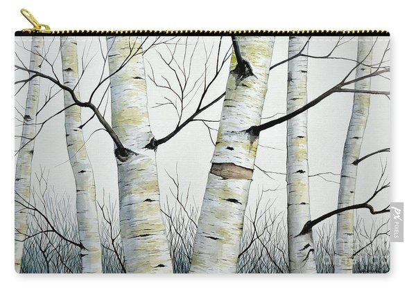 Birch Trees In The Forest In Watercolor Carry-all Pouch