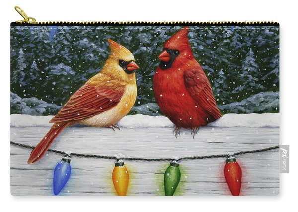 Bird Painting - Christmas Cardinals Carry-all Pouch