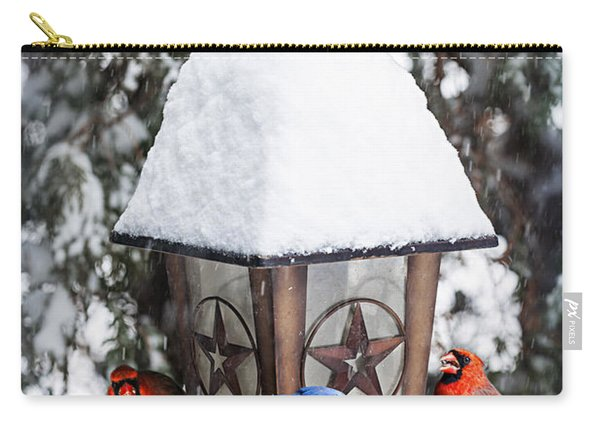 Birds On Bird Feeder In Winter Carry-all Pouch