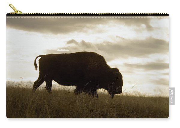 Bison Wlking In Grasslands Carry-all Pouch