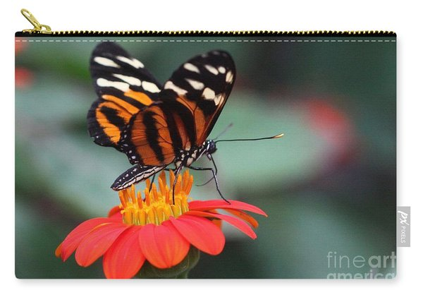 Black And Brown Butterfly On A Red Flower Carry-all Pouch