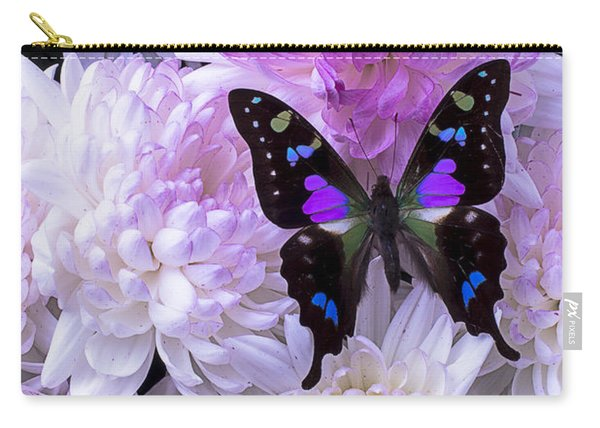 Black And Purple Butterfly On Mums Carry-all Pouch