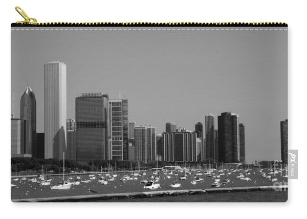 Black And White Chicago Skyline  Carry-all Pouch