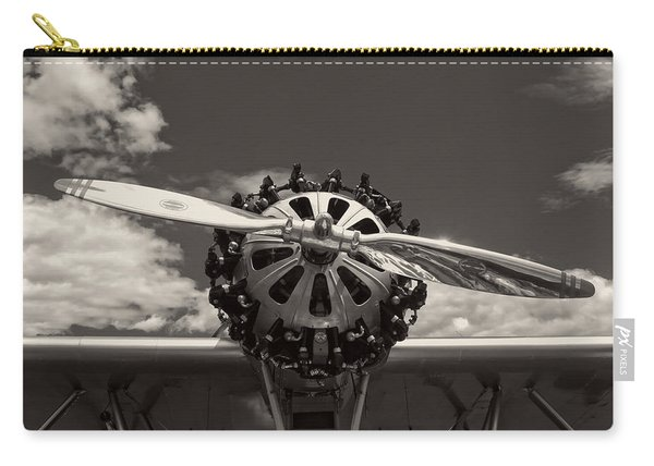 Black And White Close-up Of Airplane Engine Carry-all Pouch