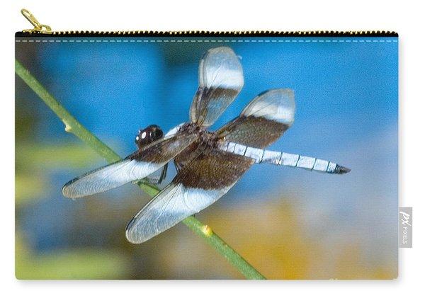 Carry-all Pouch featuring the photograph Black And White Dragonfly by Mae Wertz