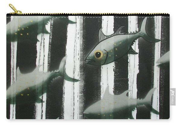 Black And White Fish Carry-all Pouch