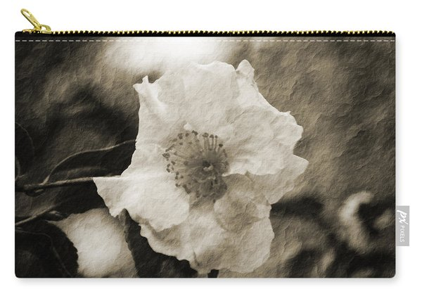 Black And White Flower With Texture Carry-all Pouch