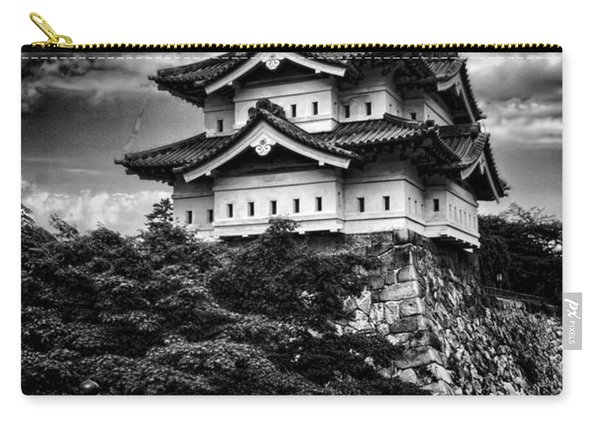 Black And White Of Hirosaki Castle In Japan Carry-all Pouch