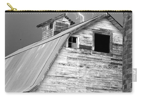 Black And White Old Barn Lightning Strikes Carry-all Pouch