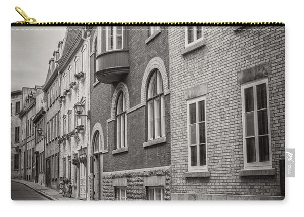 Black And White Old Style Photo Of Old Quebec City Carry-all Pouch