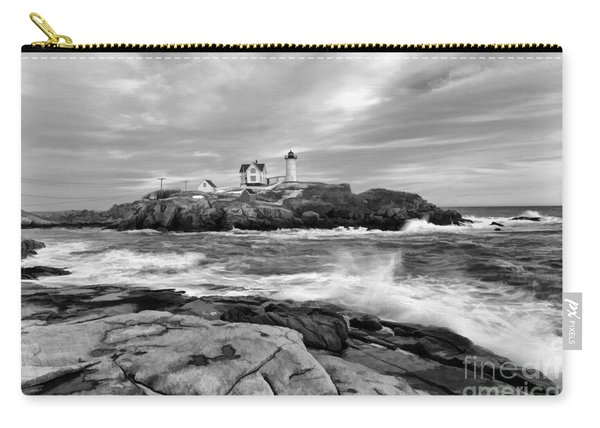 Black And White Painted Seascape Carry-all Pouch