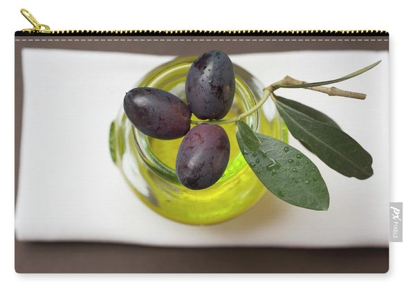 Black Olives On Twig On Glass Of Olive Oil Carry-all Pouch