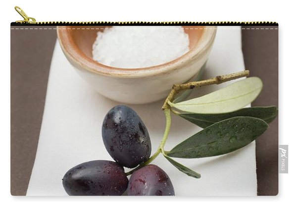 Black Olives On Twig, Sea Salt In Terracotta Bowl Carry-all Pouch