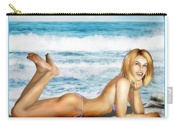 Blonde On Beach Carry-all Pouch