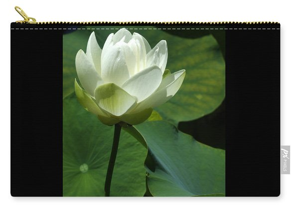 Blooming White Lotus Carry-all Pouch