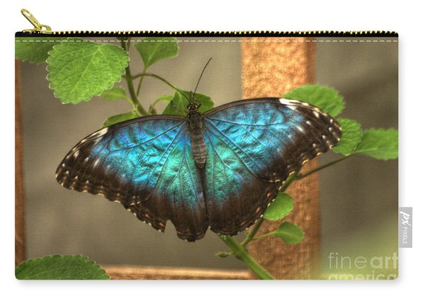 Blue And Black Butterfly Carry-all Pouch