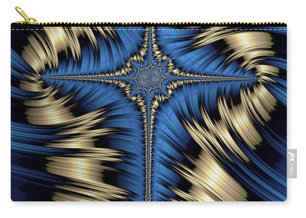 Blue And Gold Cross Abstract Carry-all Pouch