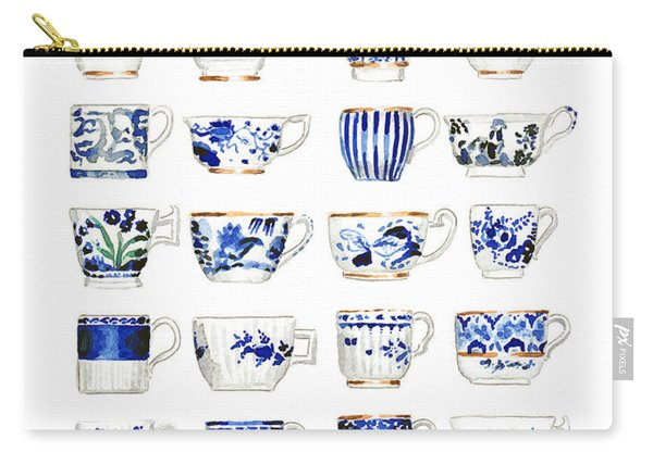 Blue And White Teacups Collage Carry-all Pouch