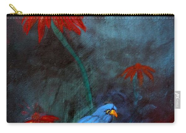 Carry-all Pouch featuring the painting Blue Bird by Cynthia Amaral