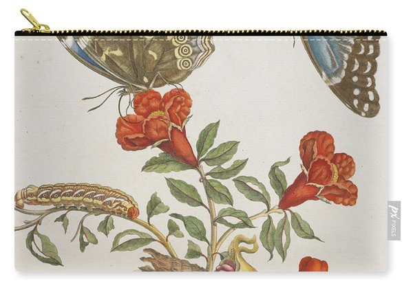 Blue Butterflies And Pomegranate Carry-all Pouch