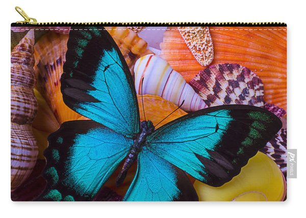Blue Butterfly Among Sea Shells Carry-all Pouch