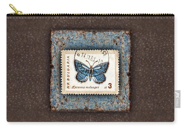 Blue Butterfly On Copper Carry-all Pouch
