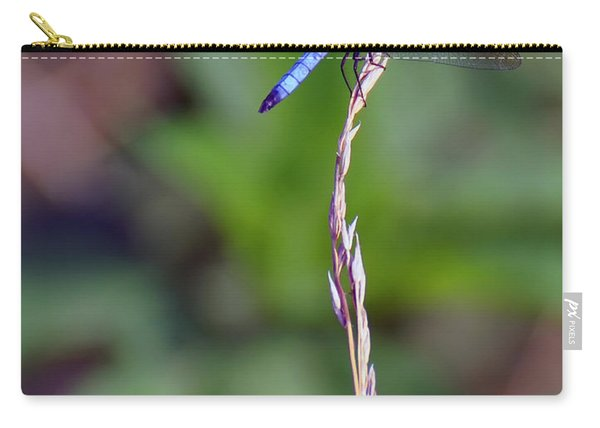 Blue Dragonfly On A Blade Of Grass  Carry-all Pouch